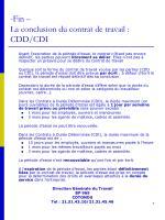 fin la conclusion du contrat de travail cdd cdi