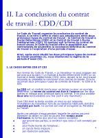 ii la conclusion du contrat de travail cdd cdi