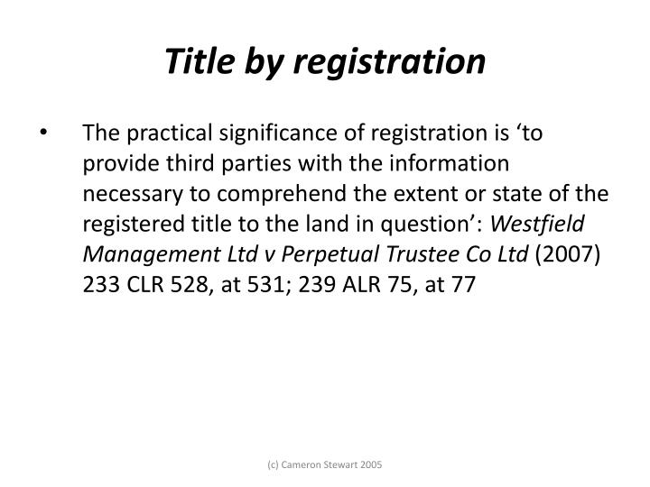 Torrens title and electronic registration