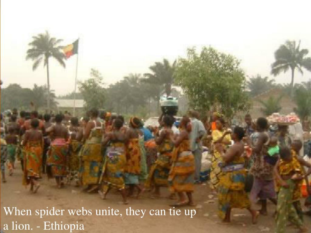 When spider webs unite, they can tie up a lion. - Ethiopia