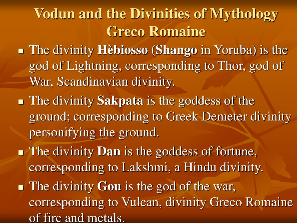 Vodun and the Divinities of Mythology Greco Romaine