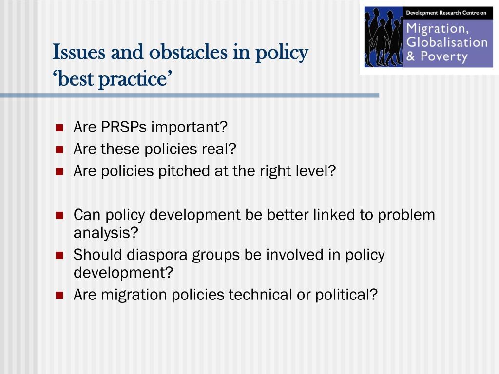 Issues and obstacles in policy 'best practice'