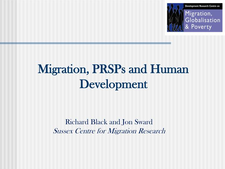 Migration prsps and human development