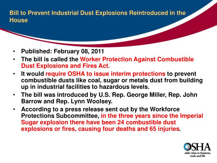 Bill to Prevent Industrial Dust Explosions Reintroduced in the House
