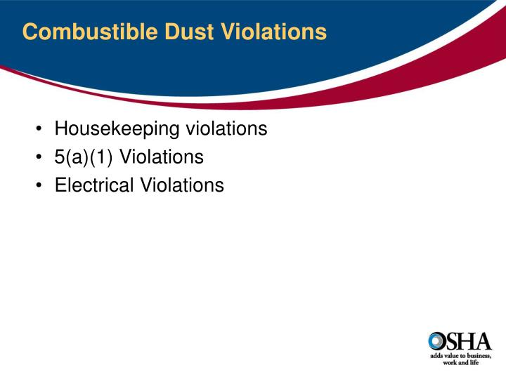 Combustible Dust Violations