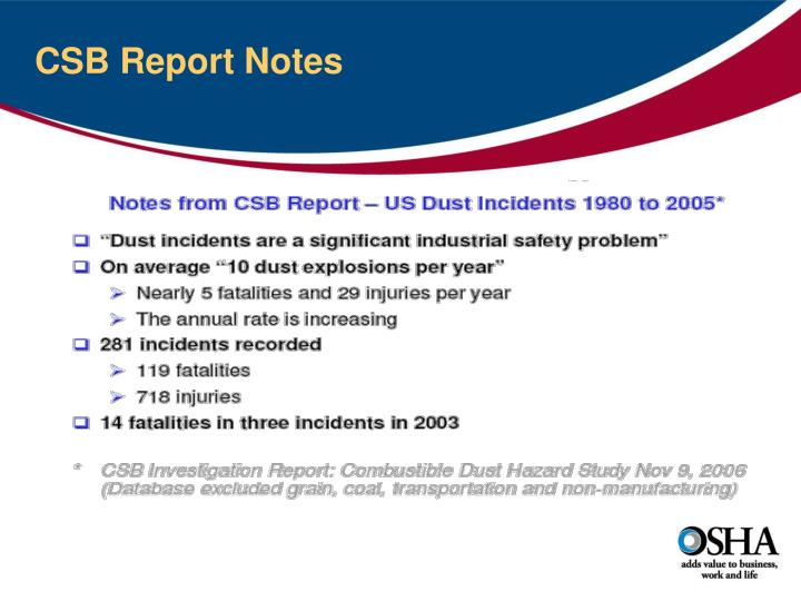 CSB Report Notes