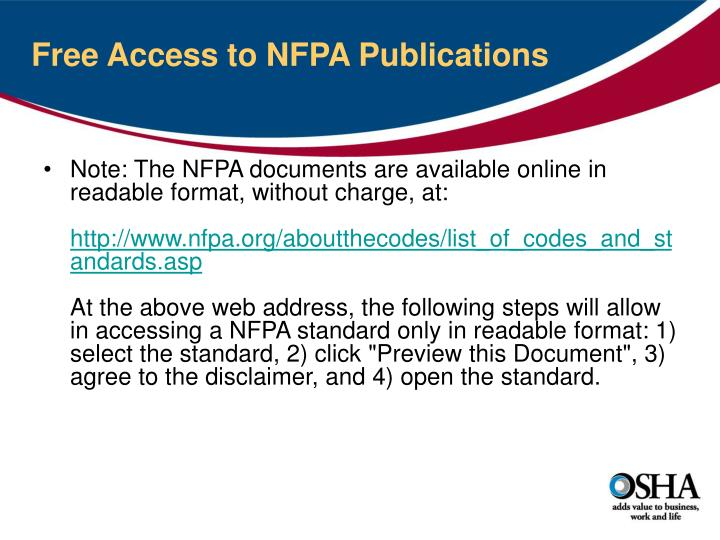 Free Access to NFPA Publications
