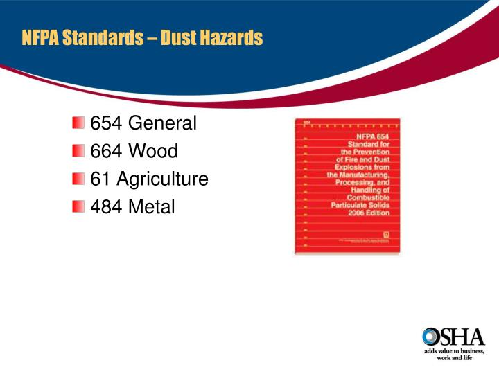 NFPA Standards – Dust Hazards