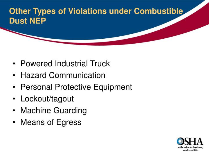 Other Types of Violations under Combustible Dust NEP
