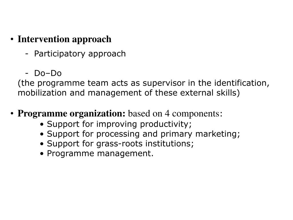 Intervention approach