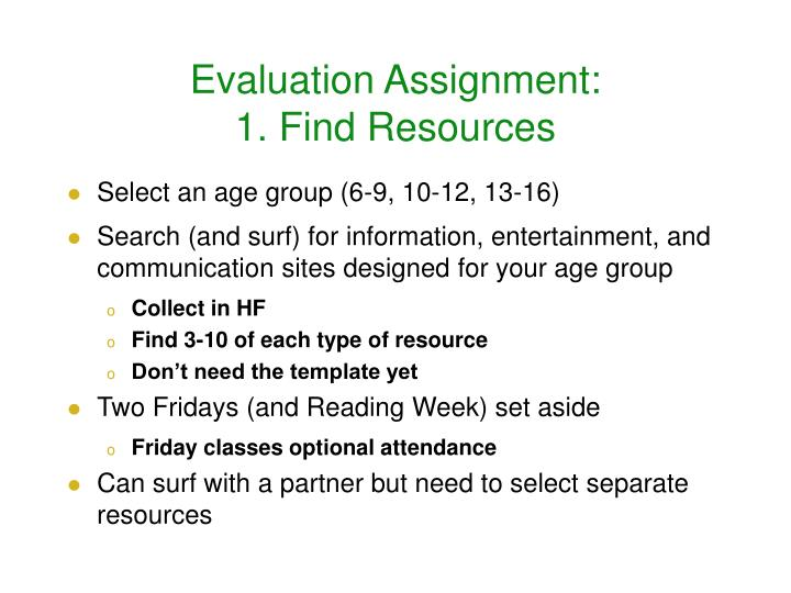 Evaluation assignment 1 find resources