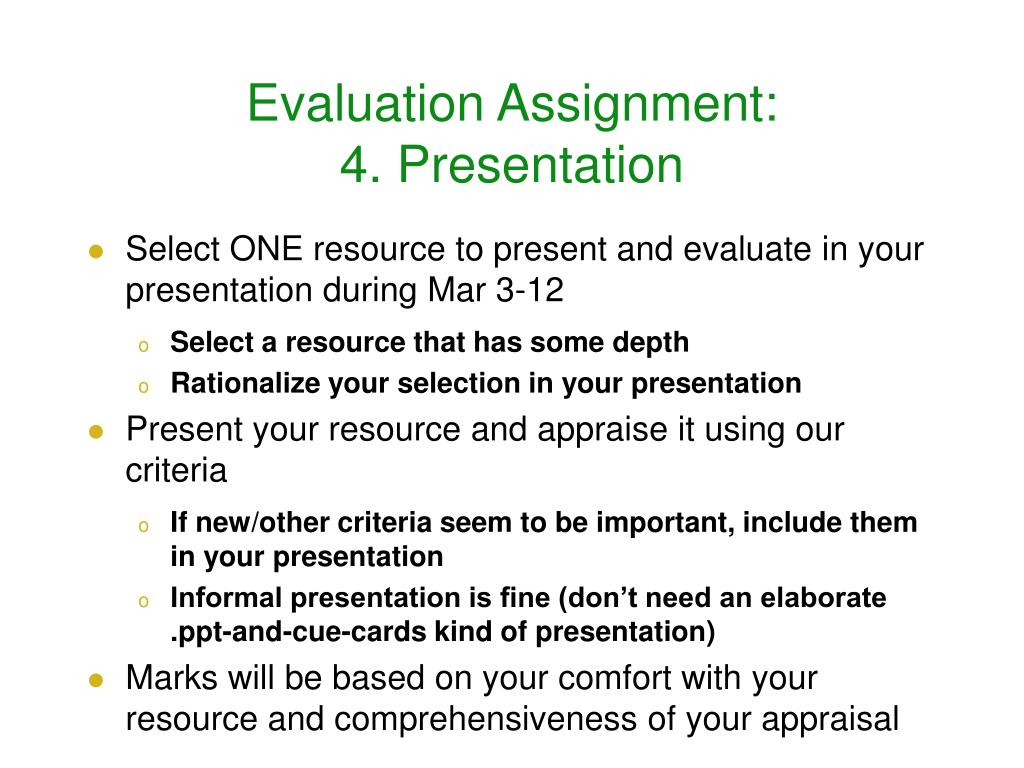 Evaluation Assignment: