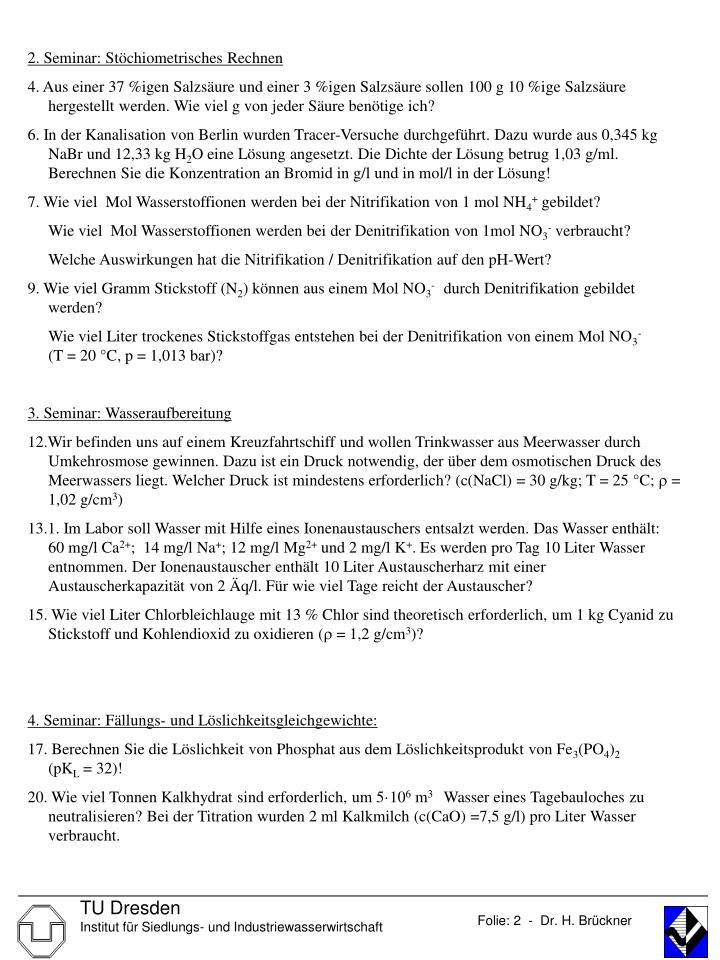 2. Seminar: Stöchiometrisches Rechnen