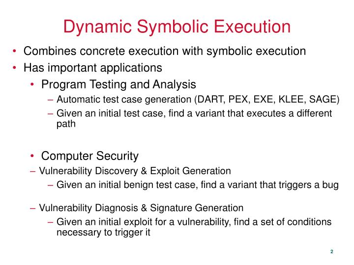 Dynamic Symbolic Execution