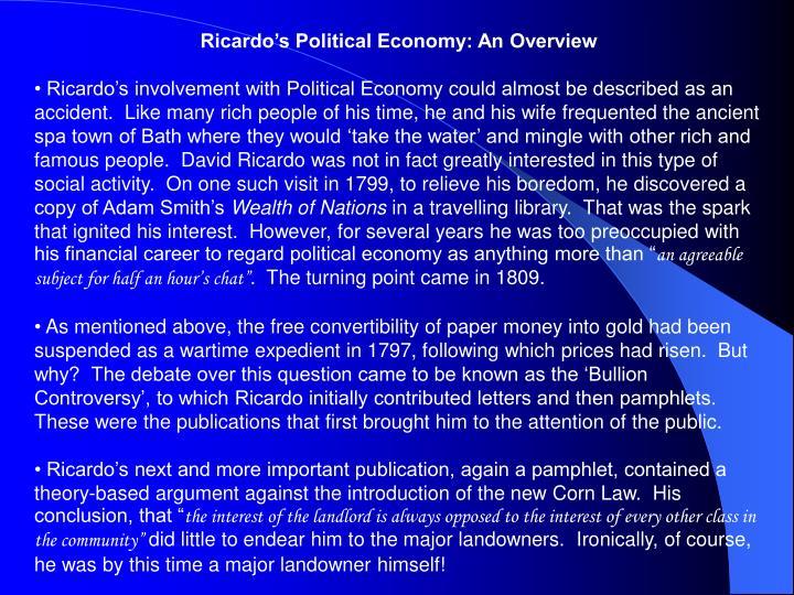 Ricardo's Political Economy: An Overview