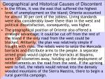 geographical and historical causes of discontent