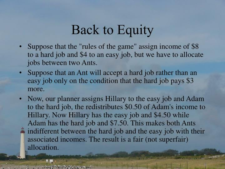 Back to Equity