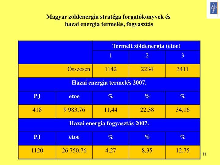 Magyar zöldenergia stratéga forgatókönyvek és