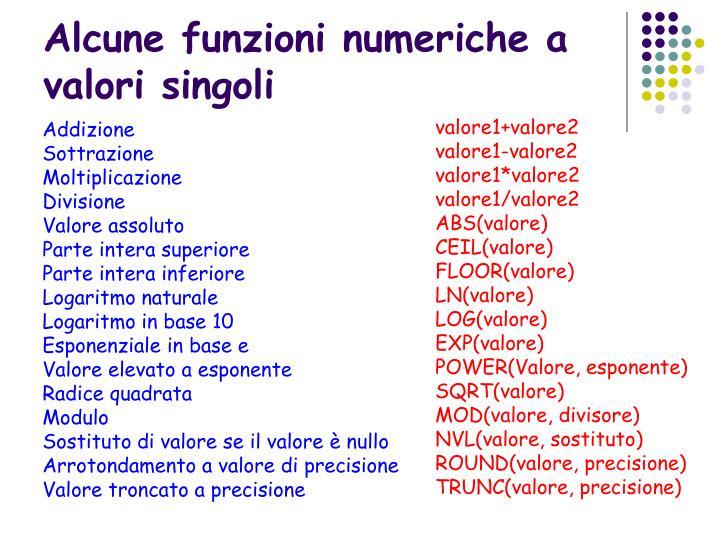 Alcune funzioni numeriche a valori singoli