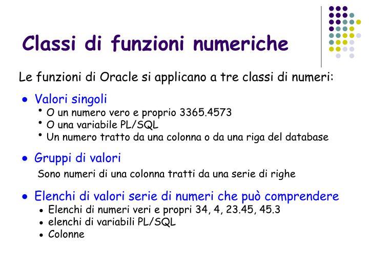 Classi di funzioni numeriche