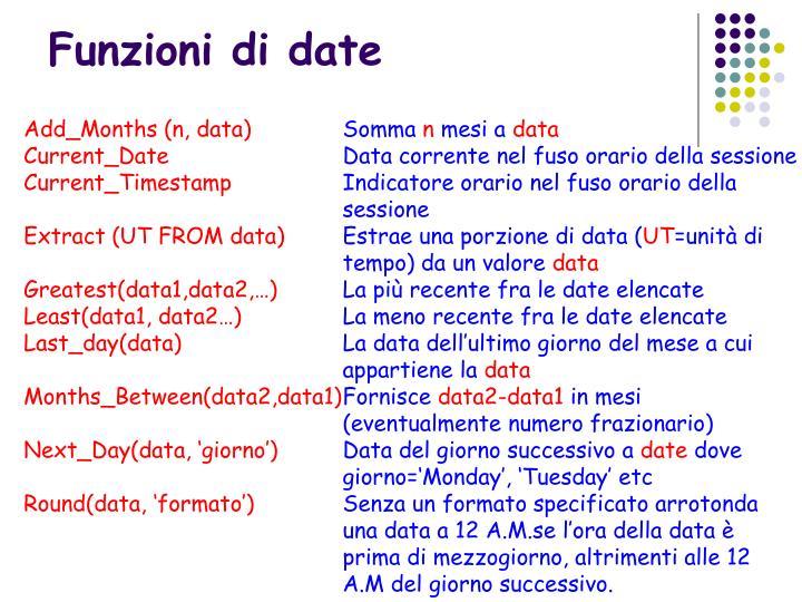 Funzioni di date
