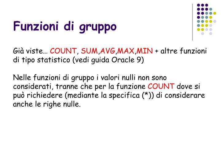 Funzioni di gruppo