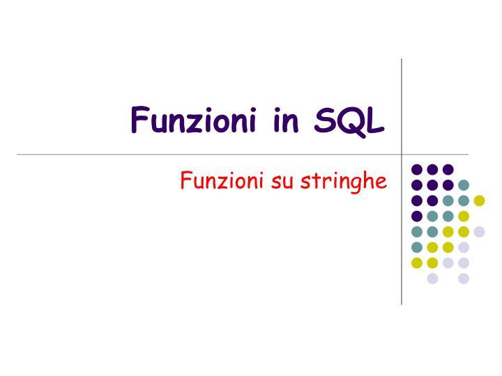 Funzioni in SQL