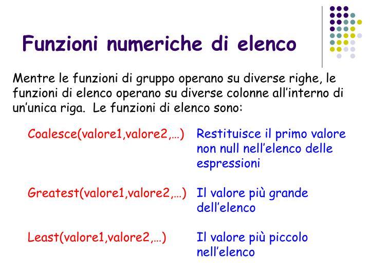 Funzioni numeriche di elenco