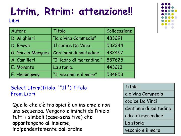 Ltrim, Rtrim: attenzione!!