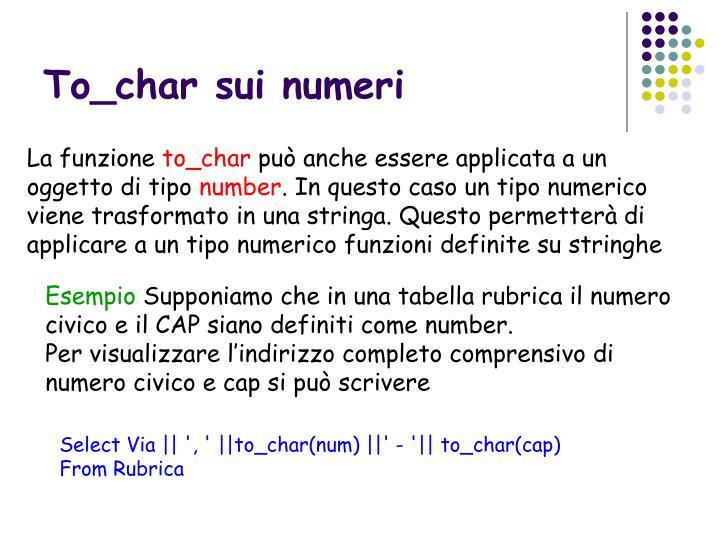 To_char sui numeri