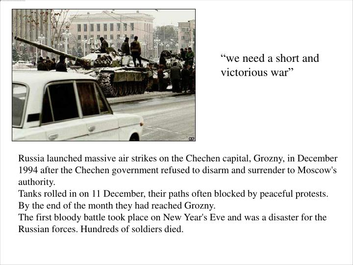 Russia launched massive air strikes on the Chechen capital, Grozny, in December 1994 after the Chech...