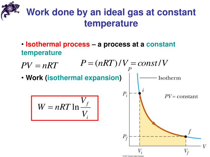 Work done by an ideal gas at constant temperature