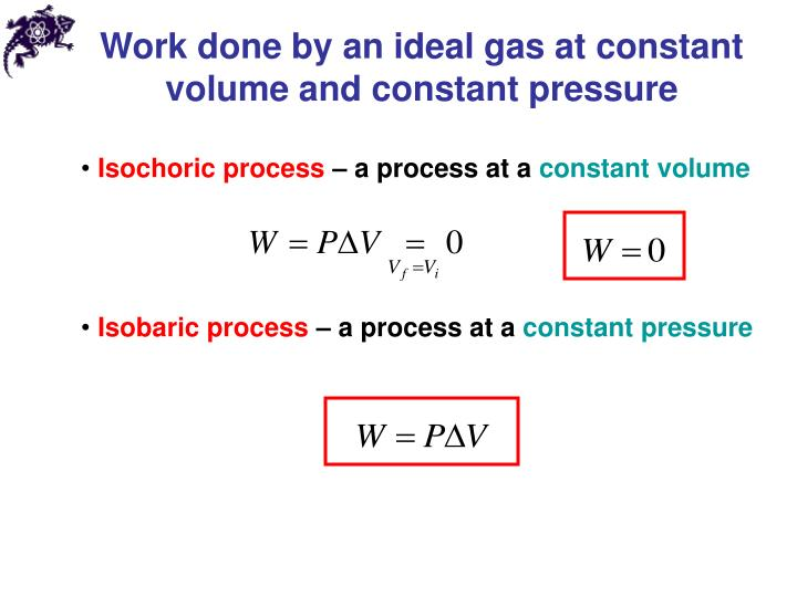 Work done by an ideal gas at constant volume and constant pressure