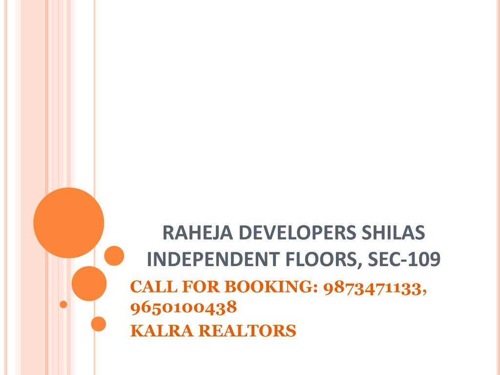 RAHEJA DEVELOPERS SHILAS INDEPENDENT FLOORS, SEC-109