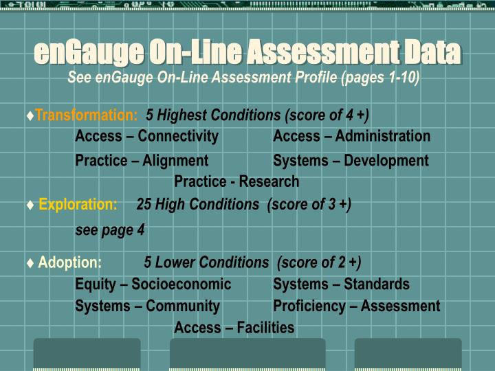 enGauge On-Line Assessment Data