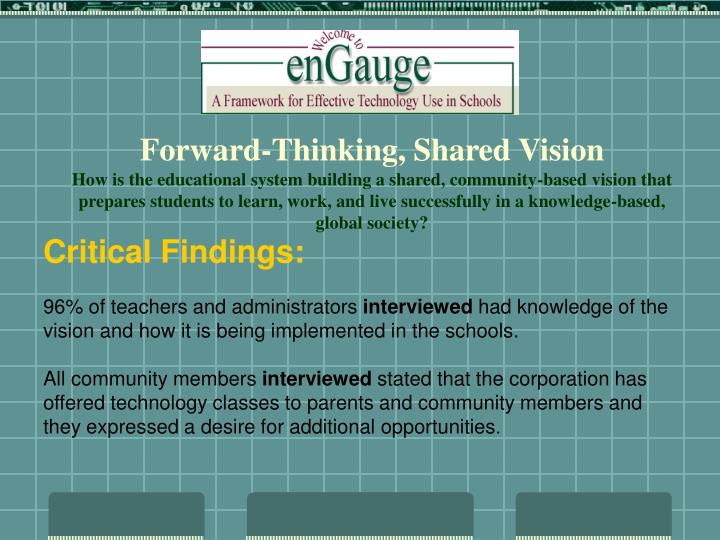 Forward-Thinking, Shared Vision