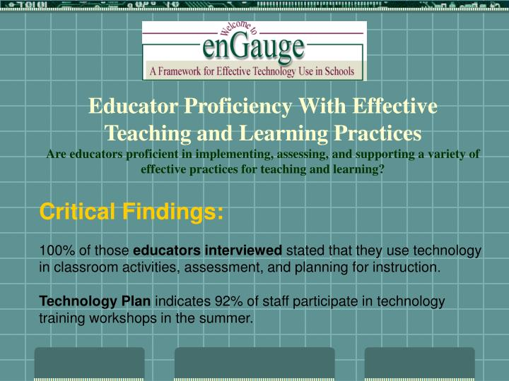 Educator Proficiency With Effective Teaching and Learning Practices