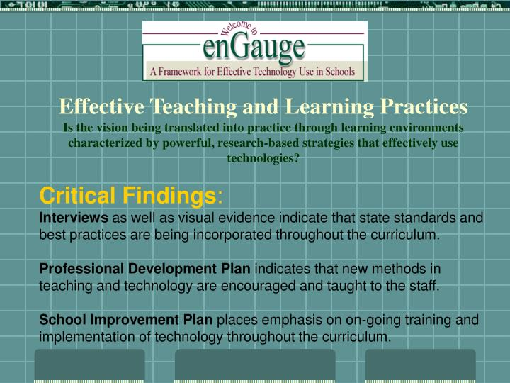 Effective Teaching and Learning Practices