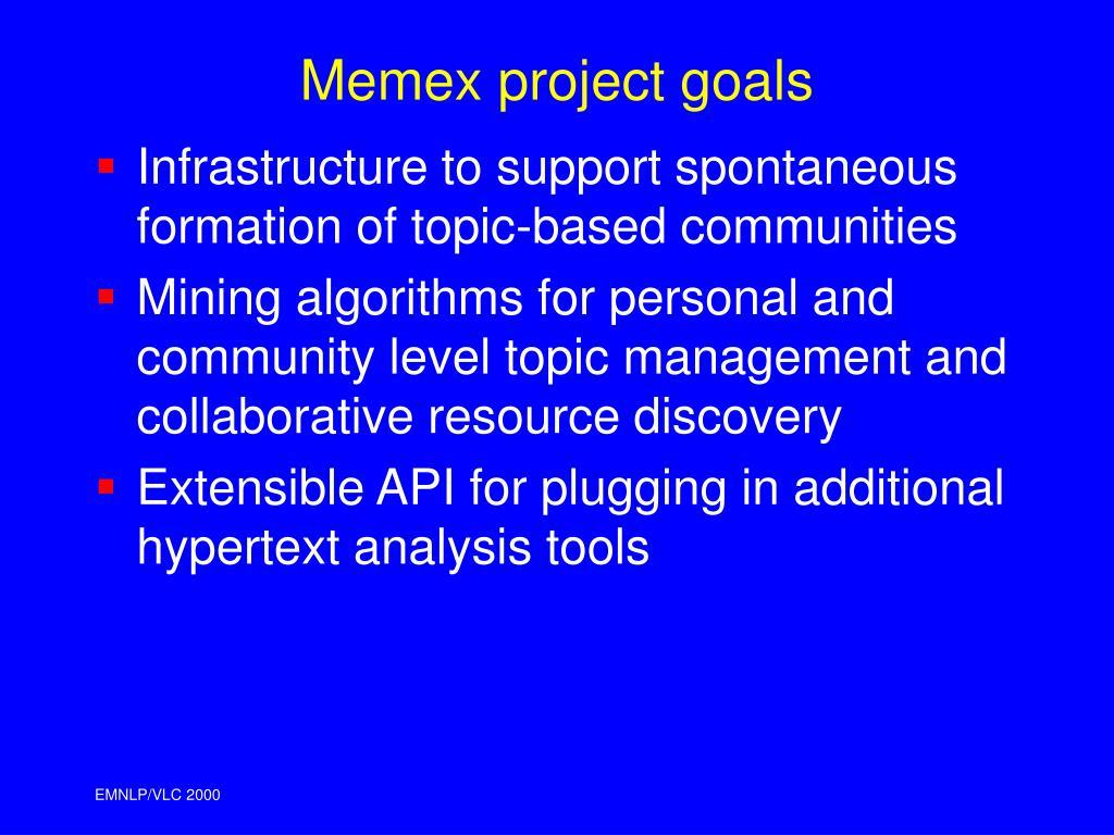Memex project goals