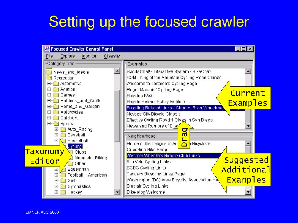 Setting up the focused crawler
