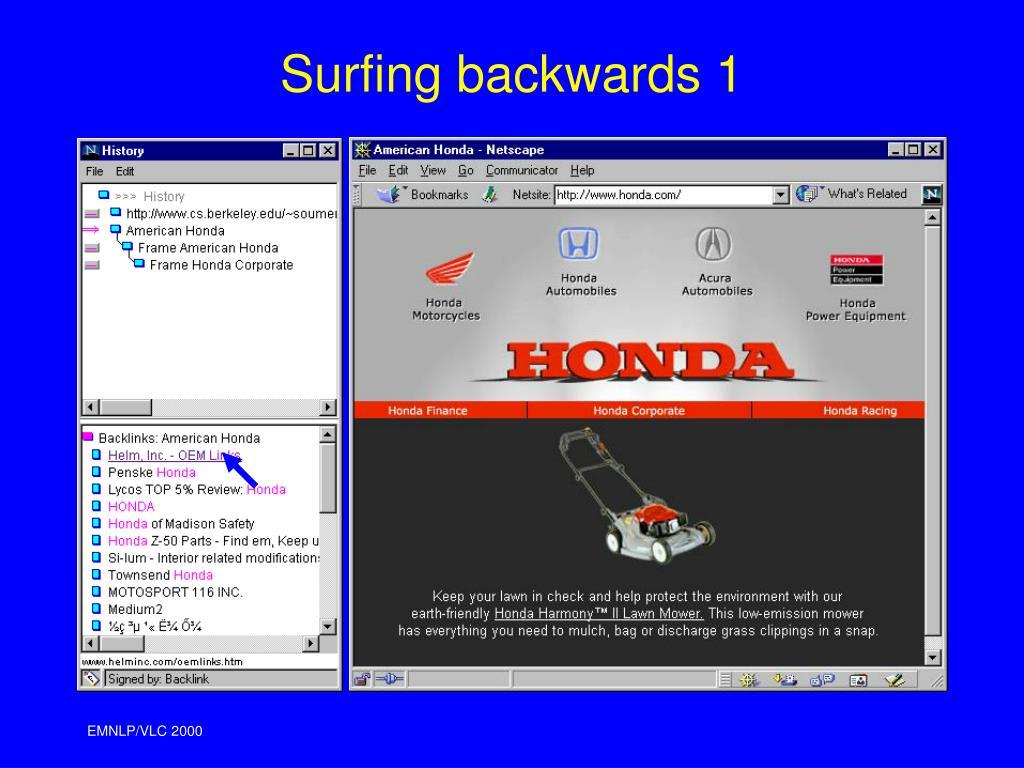 Surfing backwards 1
