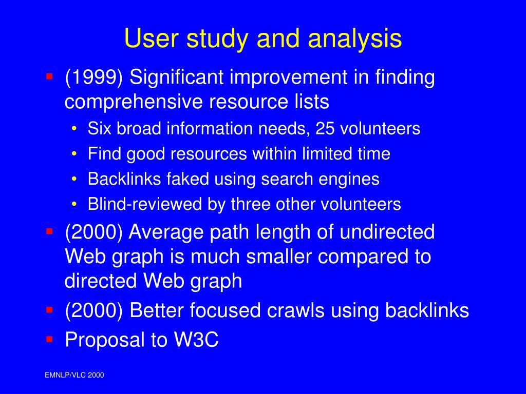 User study and analysis