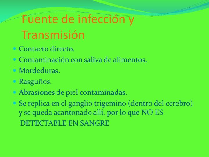 Fuente de infección y Transmisión