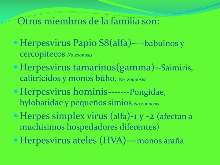 Otros miembros de la familia son: