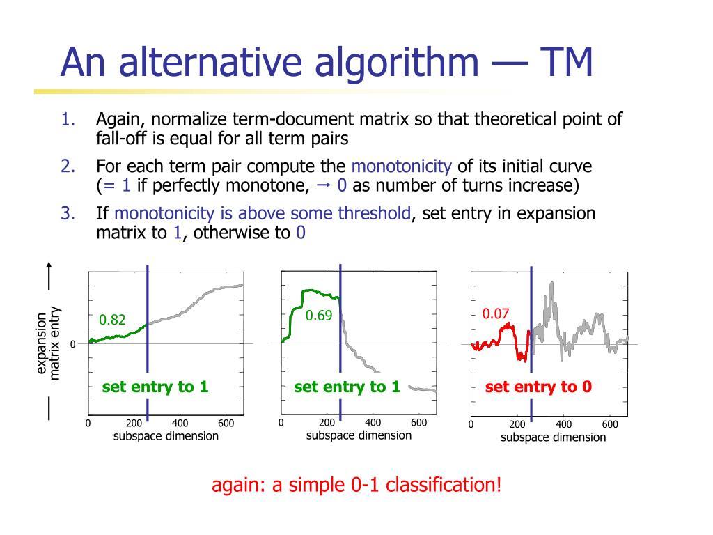 An alternative algorithm — TM