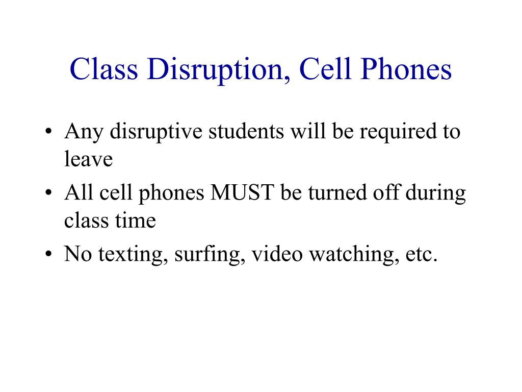 Class Disruption, Cell Phones