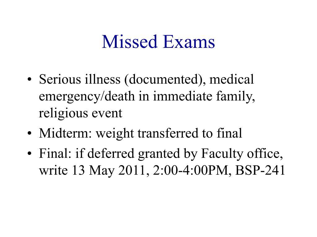 Missed Exams