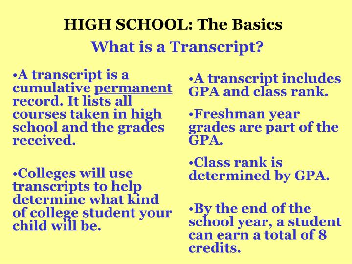HIGH SCHOOL: The Basics