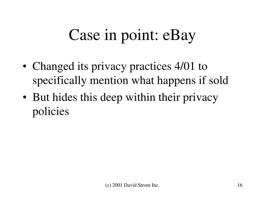Case in point: eBay