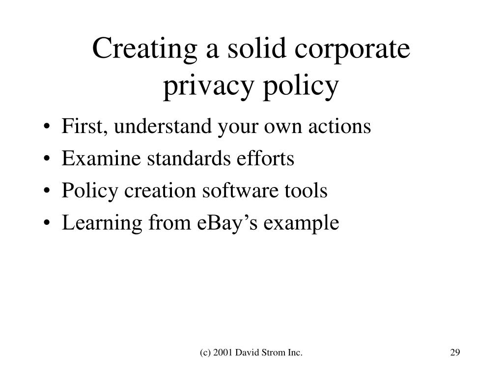 Creating a solid corporate privacy policy